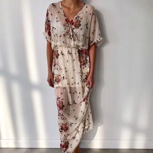 Zara Floral Bird Maxi Dress Medium